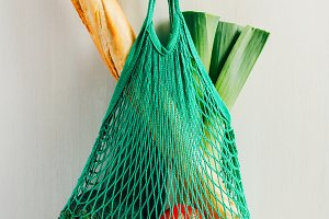 Green string shopping bag
