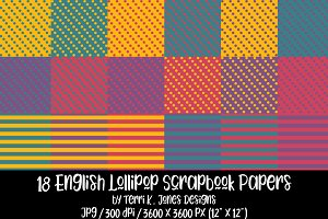18 English Lollipop Scrapbook Papers