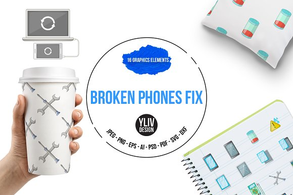 Broken Phones Fix Icons Set Cartoon