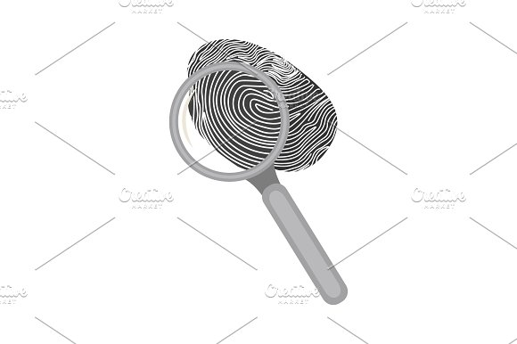 Fingerprint And Magnifier On A White