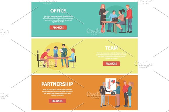Office Team Partnership Posters With Text Set