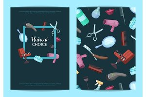 Vector card or flyer templates set for with hairdresser or barber cartoon elements illustration