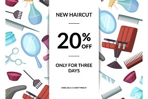 Vector hairdresser or barber cartoon elements sale background
