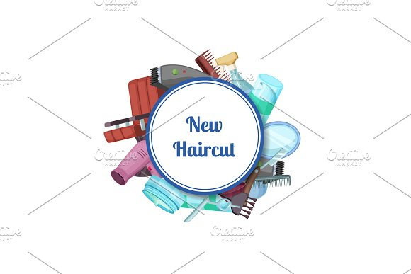 Vector Hairdresser Or Barber Cartoon Elements