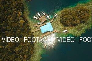 Aerial view tropical lagoon,sea, beach.Bucas Grande Island, Sohoton Cove. Philippines.