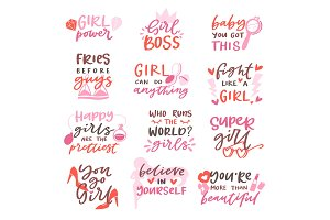 Girls sign vector girlie lettering and beautiful female text or girlish fashion template print illustration set of girlhood or girly beauty typography isolated on white background