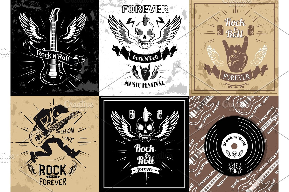 6836961f0 Rock and Roll Forever Logotype Sketches Set Vector ~ Illustrations ...