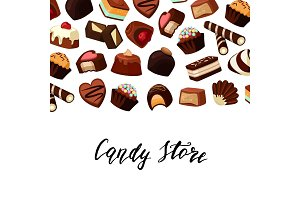 Vector background with place for text and cartoon chocolate candies