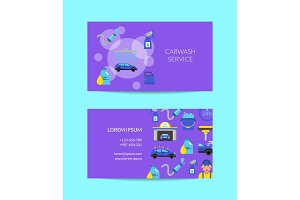 Vector business card template for car washing service