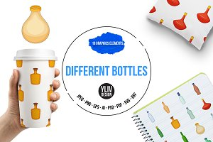 Different bottles icons set, cartoon