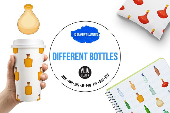 Different Bottles Icons Set Cartoon