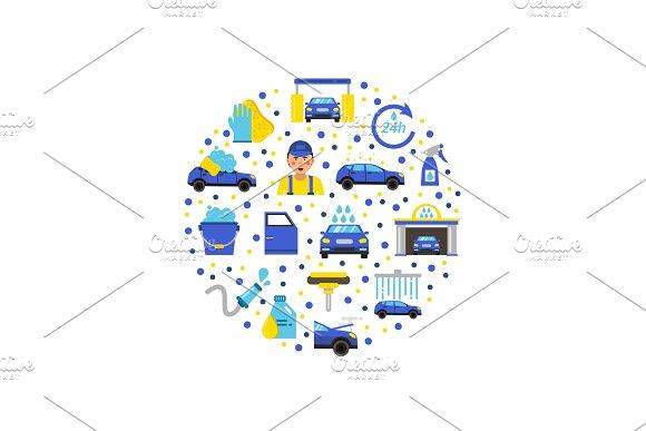 Vector Car Wash Flat Icons In Circle Illustration