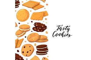 Vector background with lettering and with cartoon cookies