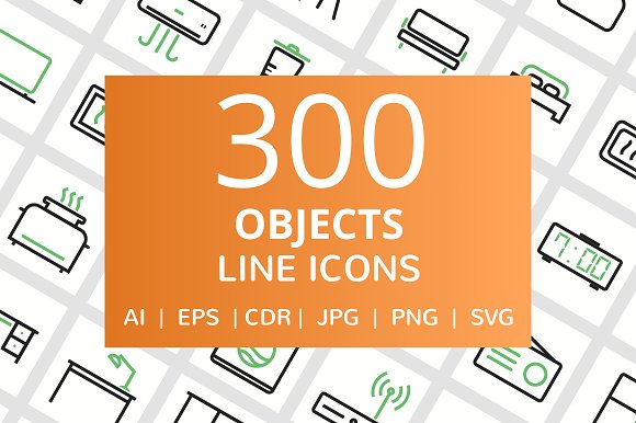 300 Objects Line Icons