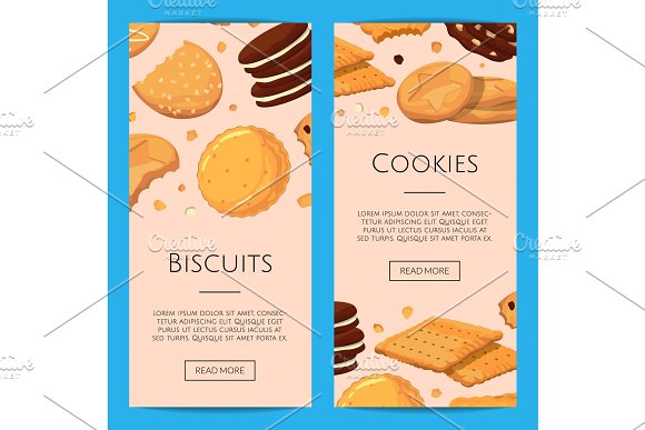 Vector Vertical Web Banners With Cartoon Cookies