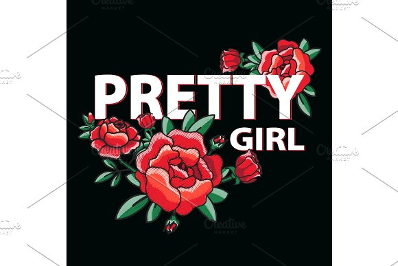 Pretty Girl Poster With Roses Vector Illustration