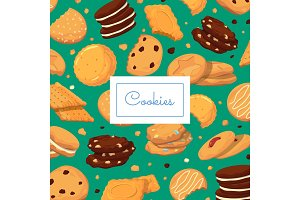 Vector background with cartoon cookies and place for text