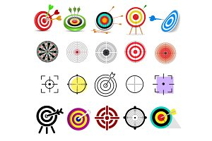 Target icon vector arrow in aim of dartboard and goal of success business strategy illustration set of sport darts game isolated on white background