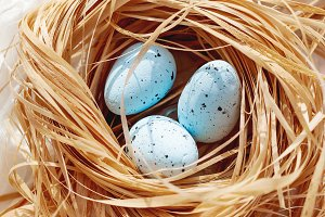 Decorative blue easter eggs