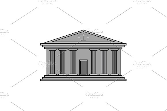 Court Building With Columns Vector