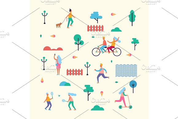Pattern Made Of Minimalistic Characters On Walk