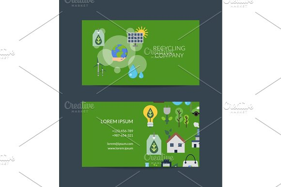 Vector Business Card Template For Recycling
