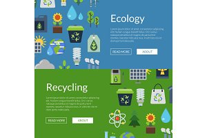 Vector banners illustration with ecology flat icons