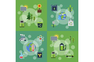 Vector banners set of illustrations with ecology flat icons