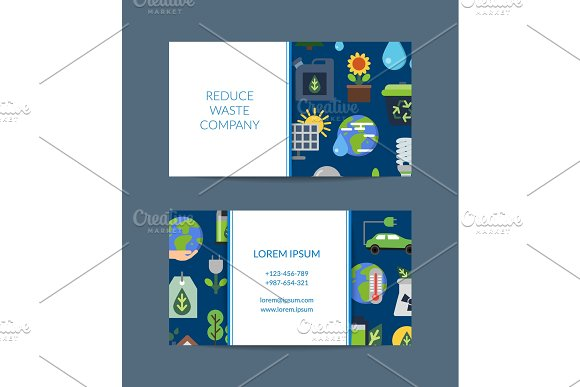 Vector Business Card For Recycling Company With Ecology Flat Icons