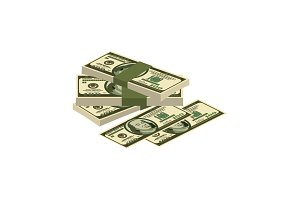 pile of money. Cash. Dollars vector