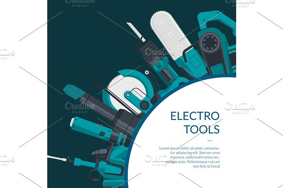 Vector Background Electric Construction Tools