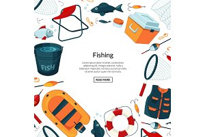 Vector background fishing equipment
