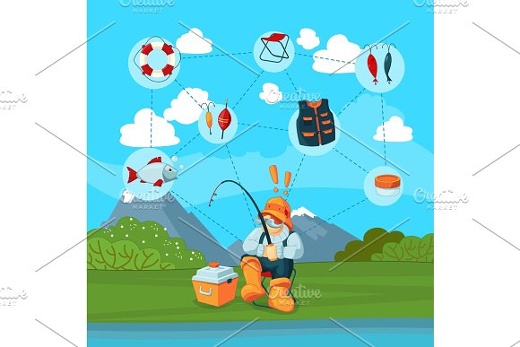 Vector Illustration With Fisherman And Cartoon Fishing
