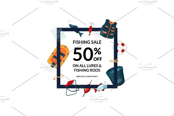 Vector Frame With Cartoon Fishing Equipment Illustration
