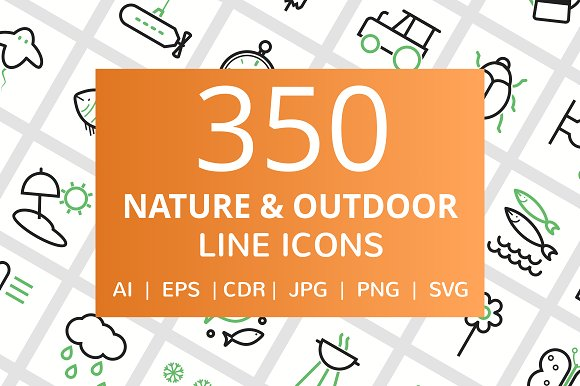 350 Nature Outdoor Line Icons