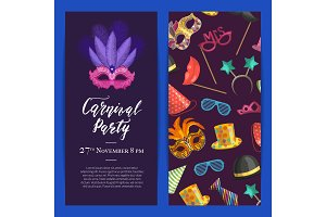 Vector party invitation with masks and party accessories