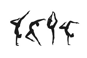 Set of silhouette gymnastic girls