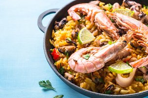 Seafood paella with shrimps, mussel and octopus.