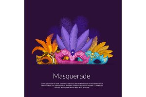 Vector carnival masks illustration