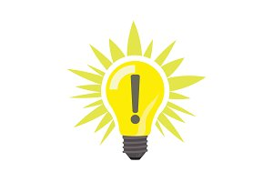 Sign of idea, light lamp bulb