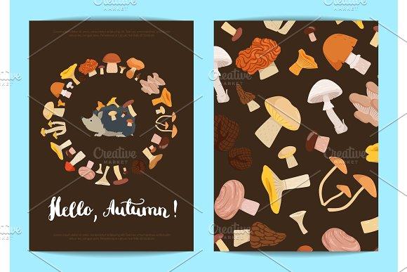 Vector Card Or Flyer Templates With Cartoon Mushrooms Illustration