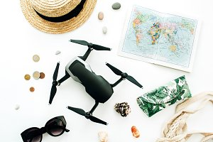 Travel background with map and drone