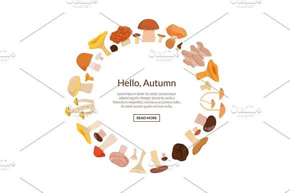 Vector Cartoon Mushrooms In Circle