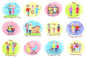 Grandparents Day Set of Posters, Daily Activities