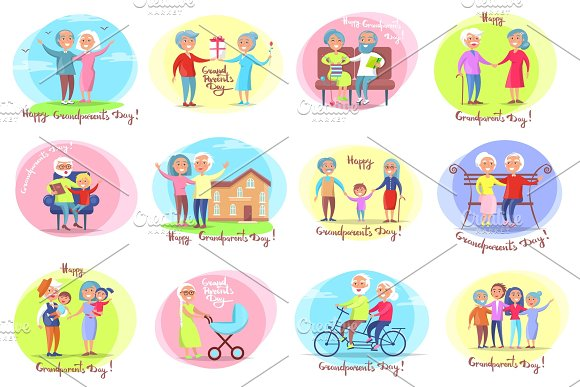 Grandparents Day Set Of Posters Daily Activities