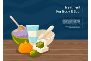 Vector cartoon beauty and spa elements