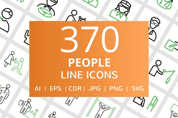 370 People Line Icons