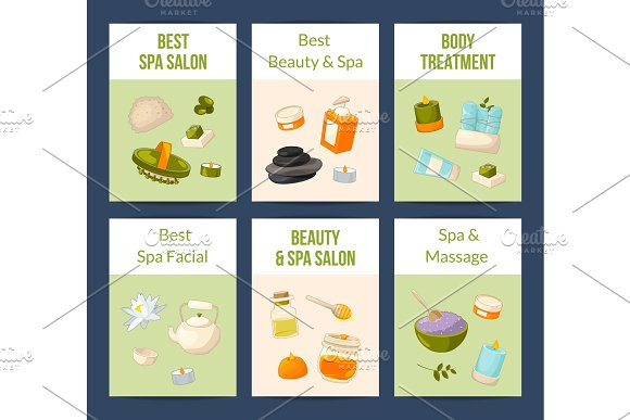 Vector Card Or Flyer Set With Cartoon Beauty And Spa Elements
