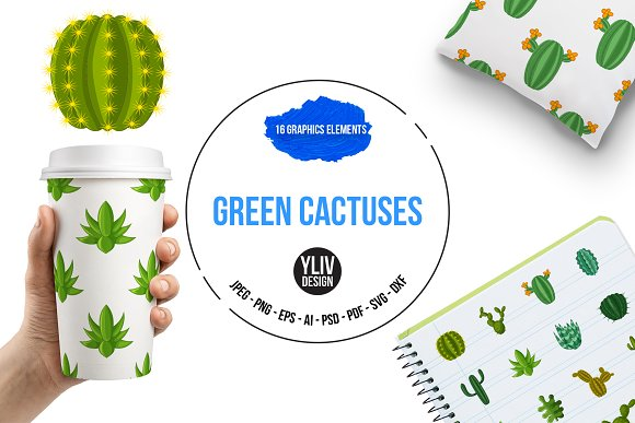 Green Cactuses Icons Set Cartoon