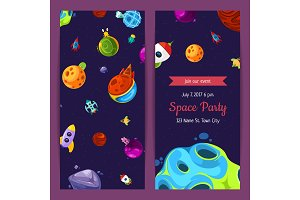 Vector party invitation with space elements, planets and ships